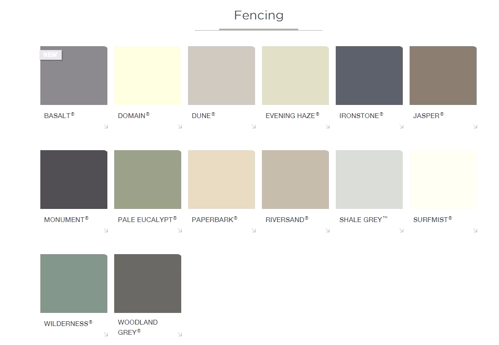 Colorbond Fence Colours 2